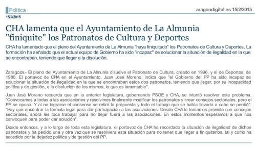 La Almunia. Aragón Digital (15.02.15)