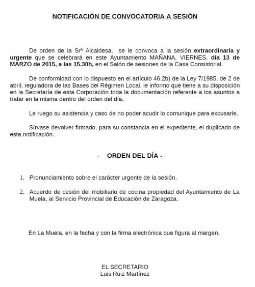 Convocatoria Pleno Extraordinario y Urgente 13.03.15